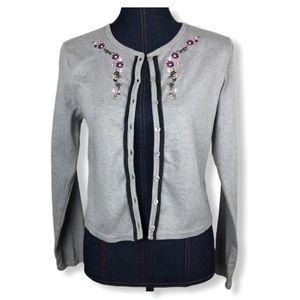 IN DESIGNS Gray Embroidered Flower Sweater Blazer